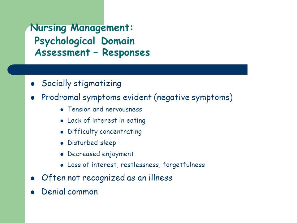 Nursing Management: Psychological Domain Assessment – Responses