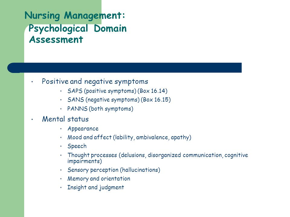 Nursing Management: Psychological Domain Assessment