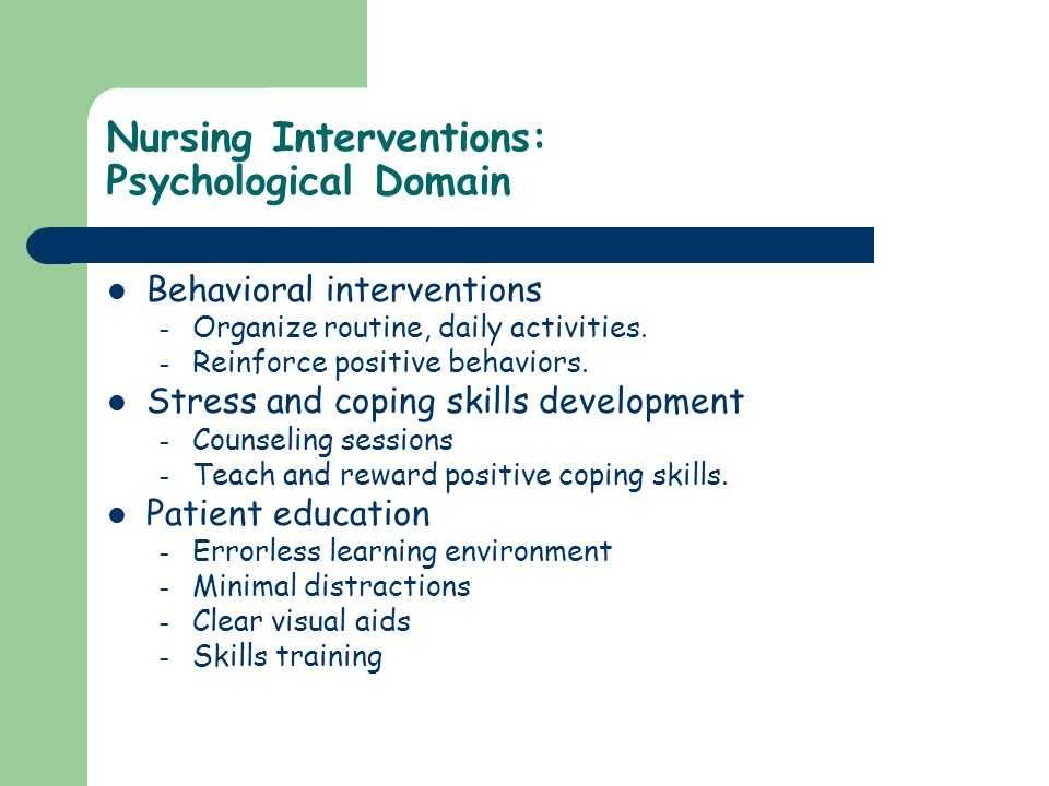 Nursing Interventions: Psychological Domain