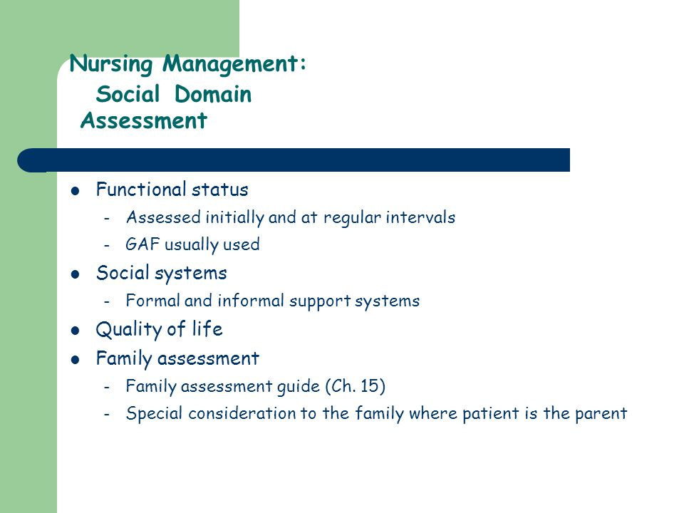 Nursing Management: Social Domain Assessment
