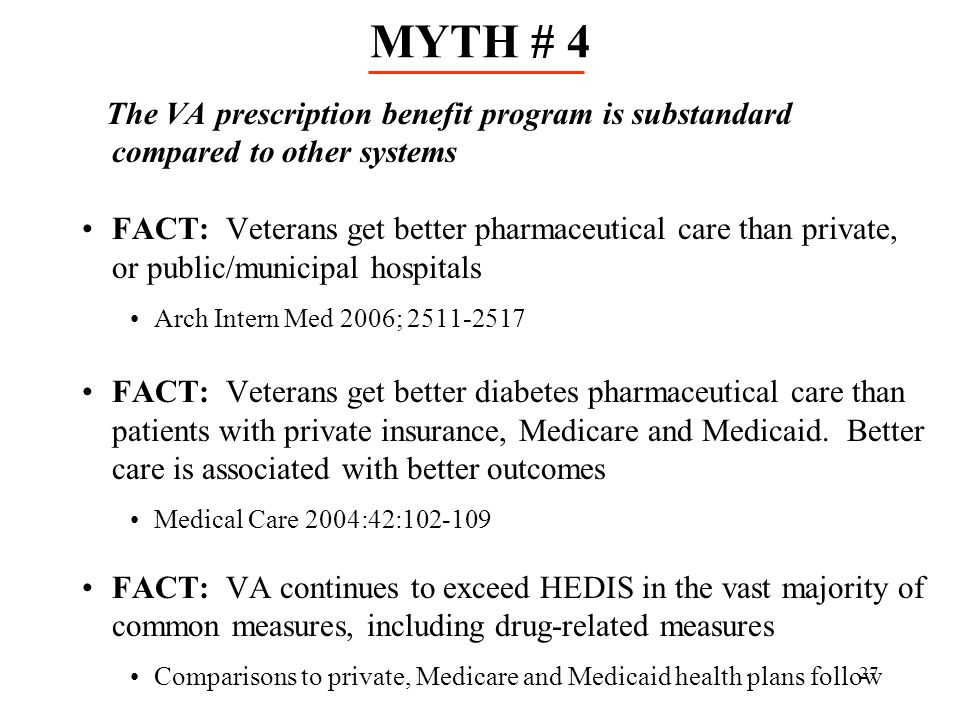 MYTH # 4 The VA prescription benefit program is substandard compared to other systems.