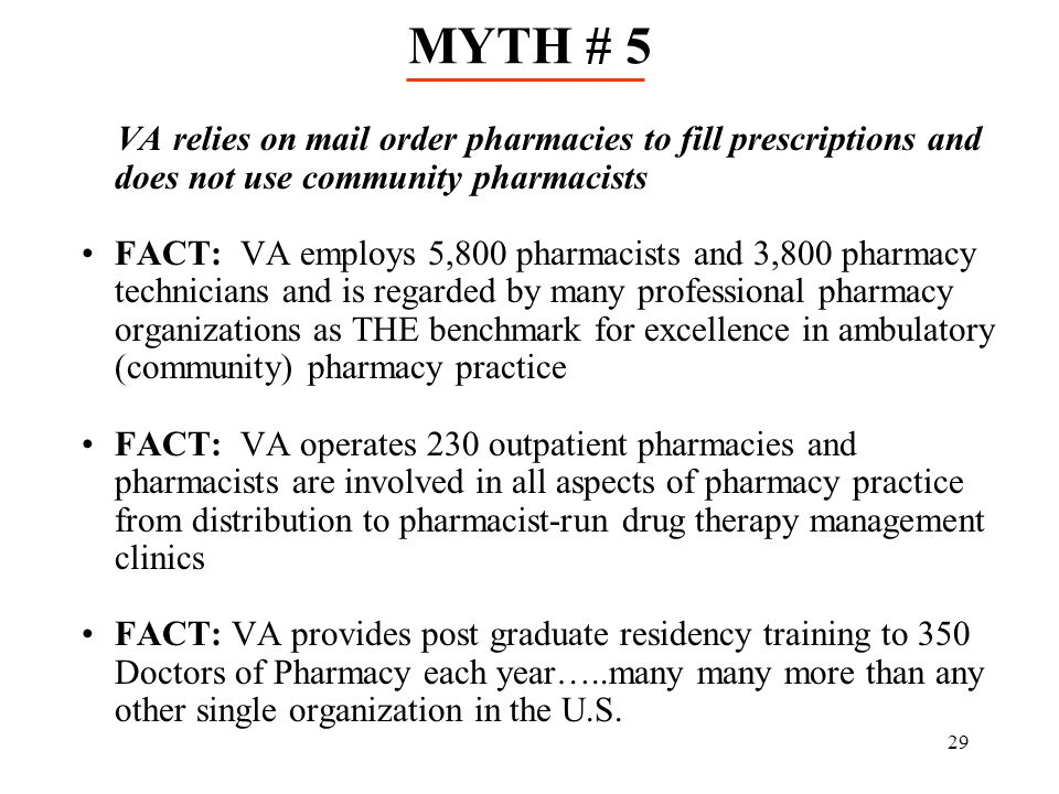 MYTH # 5 VA relies on mail order pharmacies to fill prescriptions and does not use community pharmacists.