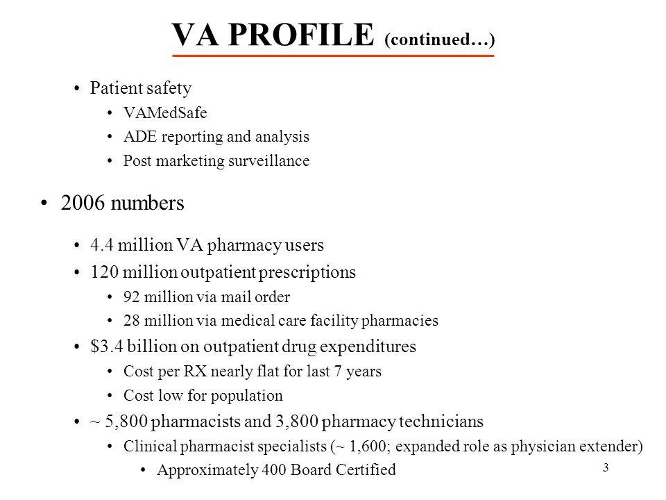 VA PROFILE (continued…)