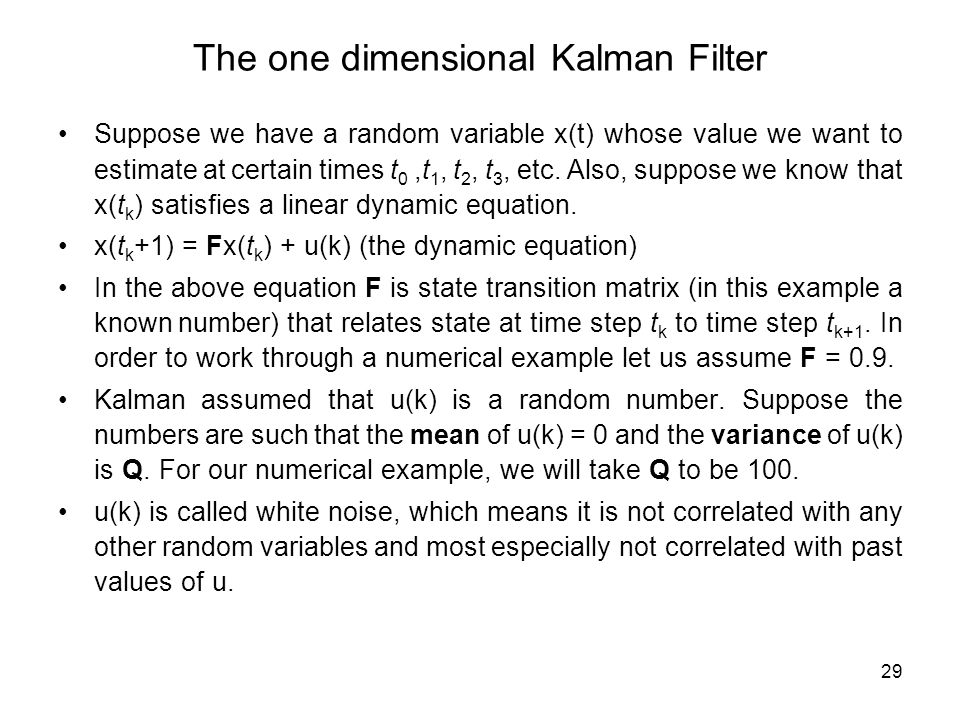 The one dimensional Kalman Filter