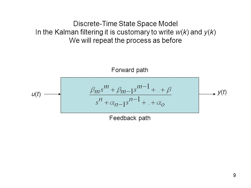 Discrete-Time State Space Model In the Kalman filtering it is customary to write w(k) and y(k) We will repeat the process as before