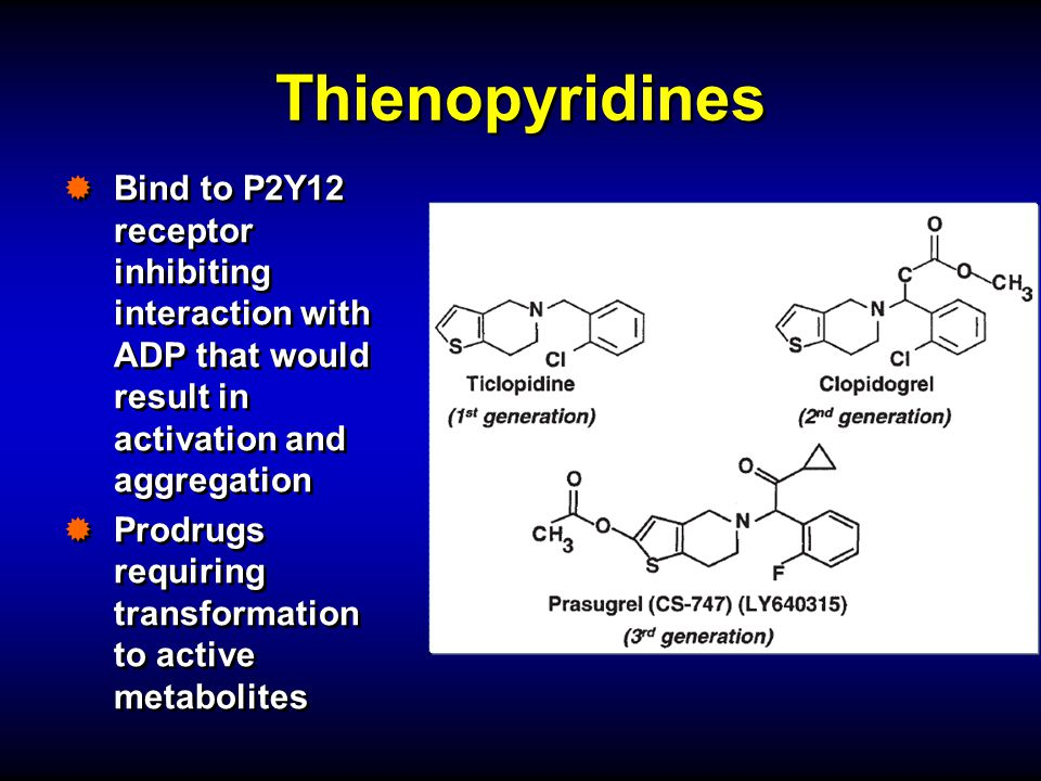 Thienopyridines Bind to P2Y12 receptor inhibiting interaction with ADP that would result in activation and aggregation.