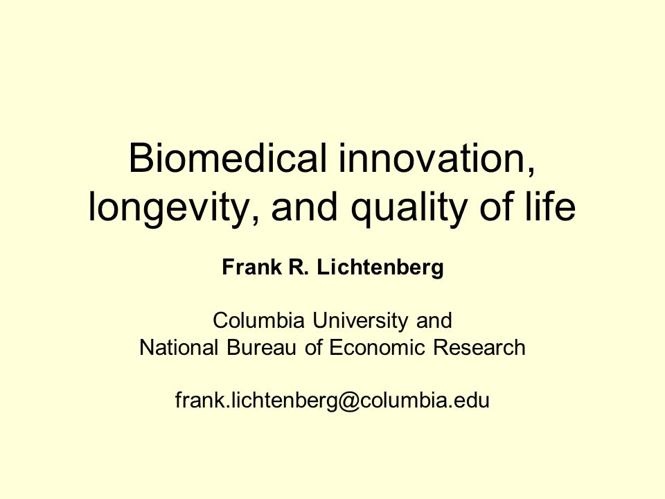 Biomedical innovation, longevity, and quality of life