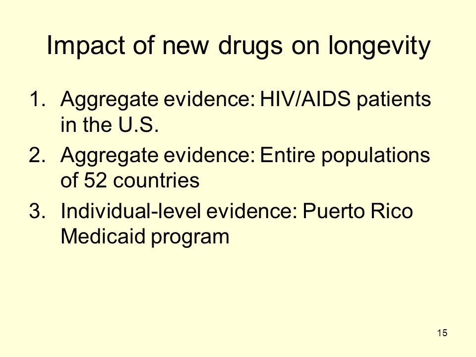 Impact of new drugs on longevity