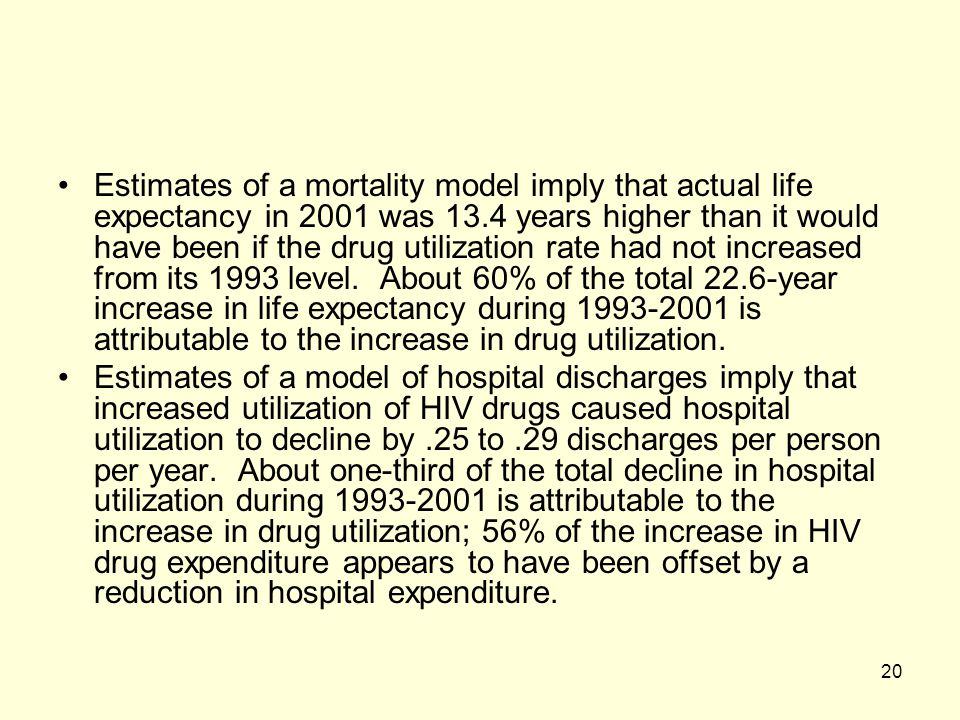 Estimates of a mortality model imply that actual life expectancy in 2001 was 13.4 years higher than it would have been if the drug utilization rate had not increased from its 1993 level. About 60% of the total 22.6-year increase in life expectancy during 1993-2001 is attributable to the increase in drug utilization.