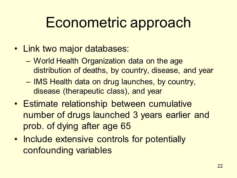 Econometric approach Link two major databases: