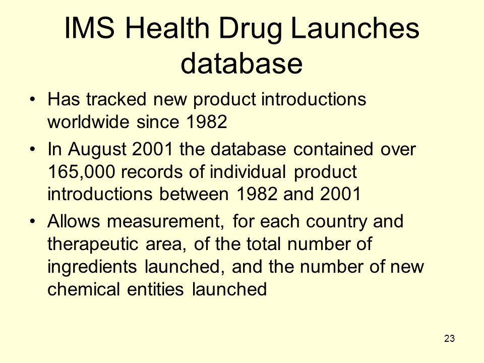 IMS Health Drug Launches database