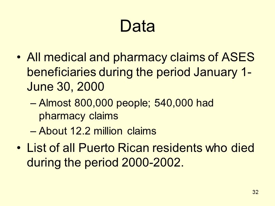 Data All medical and pharmacy claims of ASES beneficiaries during the period January 1-June 30, 2000.