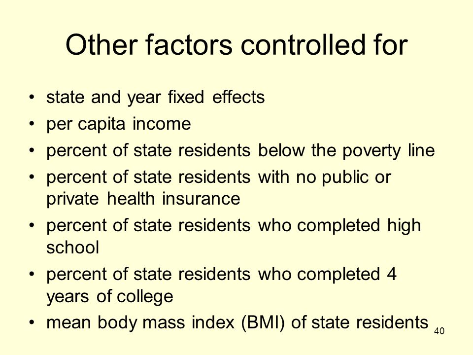 Other factors controlled for