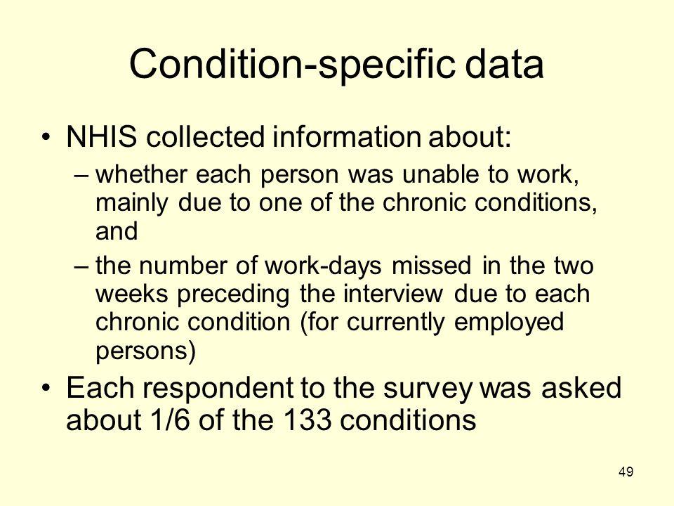 Condition-specific data