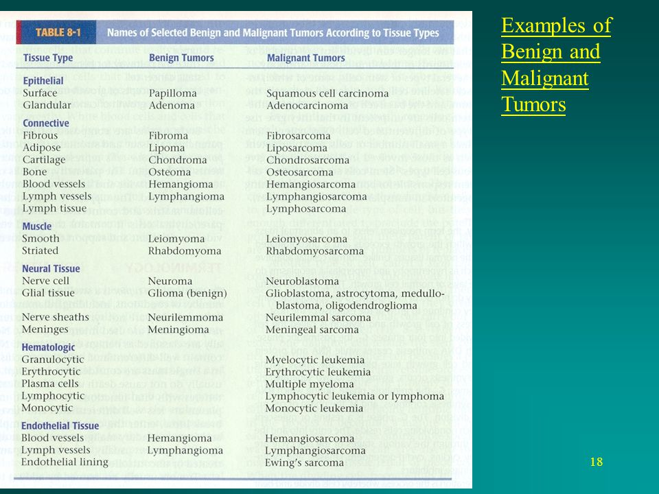 Examples of Benign and Malignant Tumors