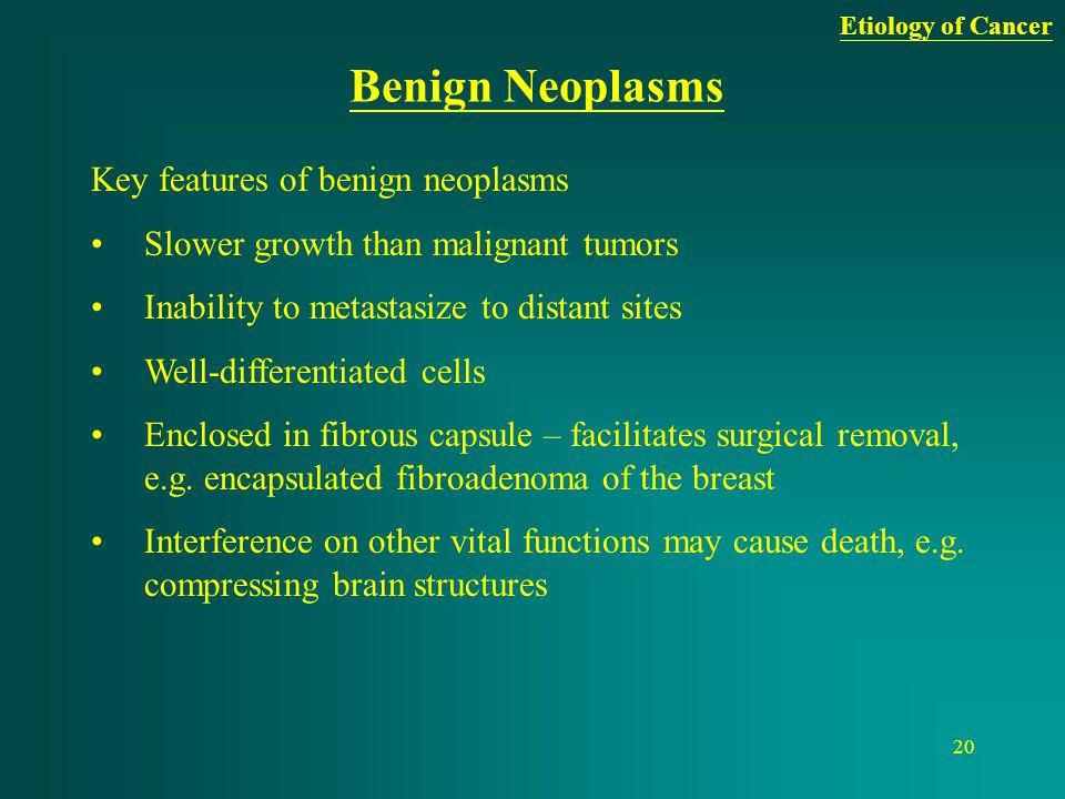 Benign Neoplasms Key features of benign neoplasms