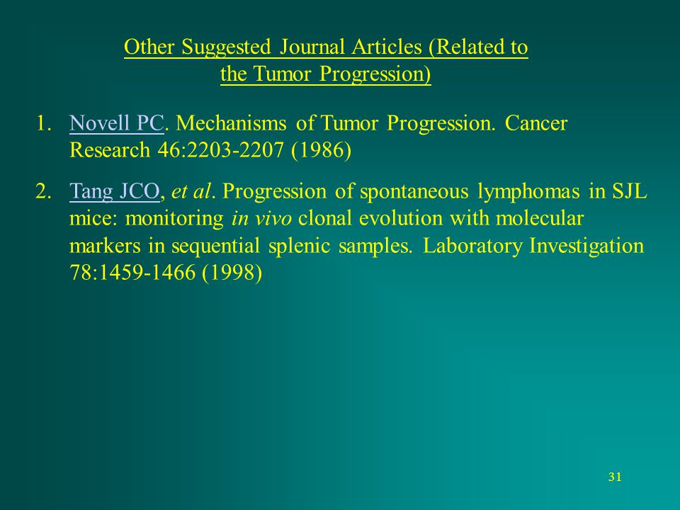 Other Suggested Journal Articles (Related to the Tumor Progression)