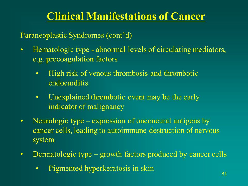 Clinical Manifestations of Cancer