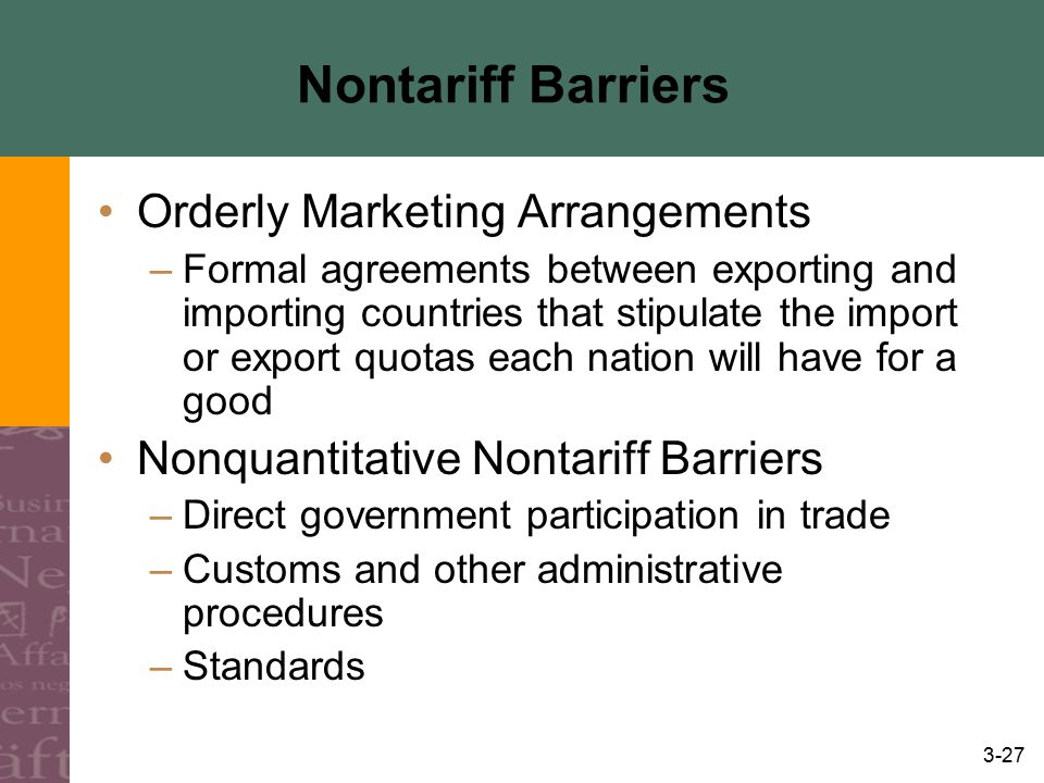 Nontariff Barriers Orderly Marketing Arrangements