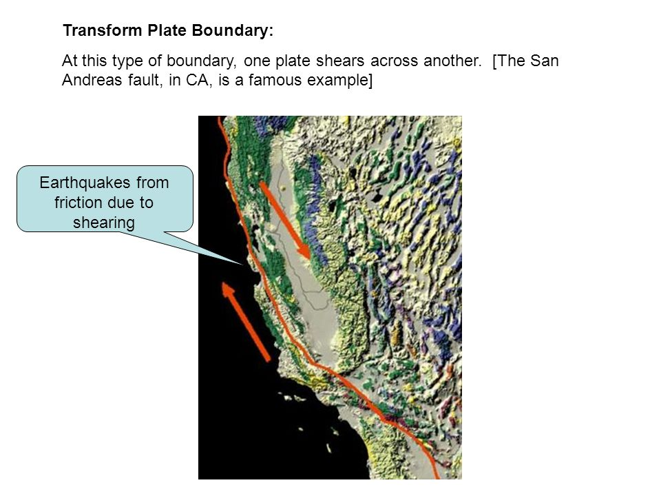 Earthquakes from friction due to shearing