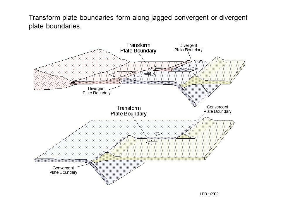 Transform plate boundaries form along jagged convergent or divergent plate boundaries.
