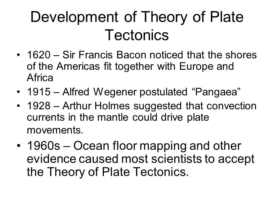 Development of Theory of Plate Tectonics