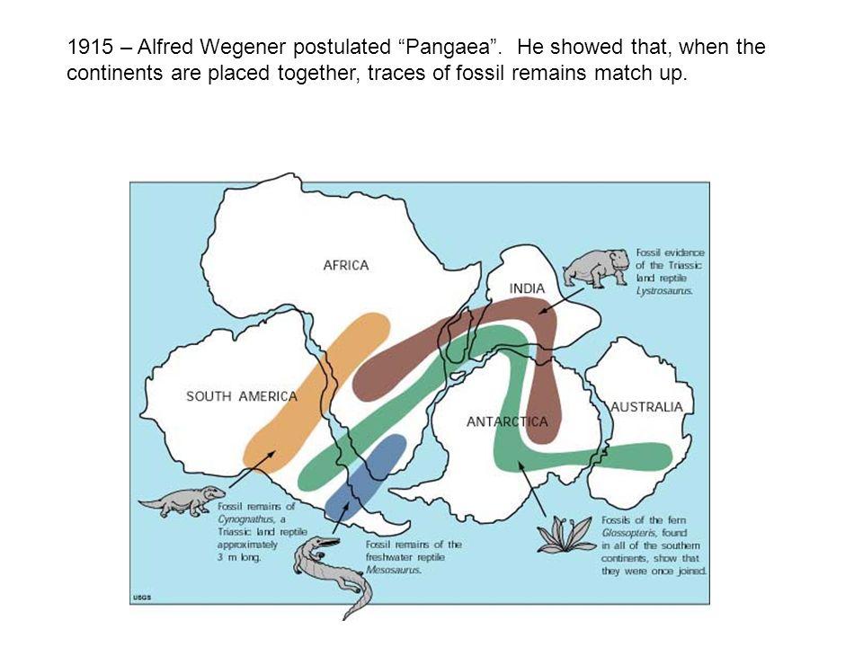1915 – Alfred Wegener postulated Pangaea