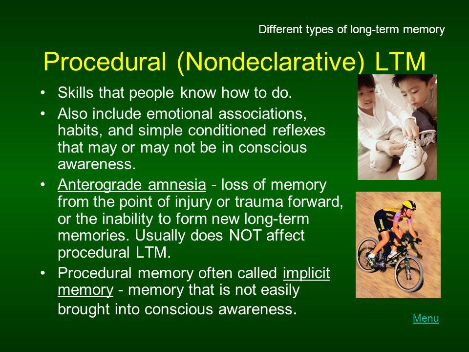 Procedural (Nondeclarative) LTM