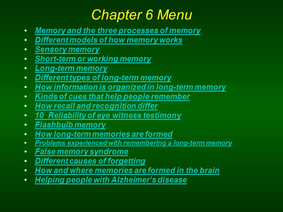 Chapter 6 Menu Memory and the three processes of memory