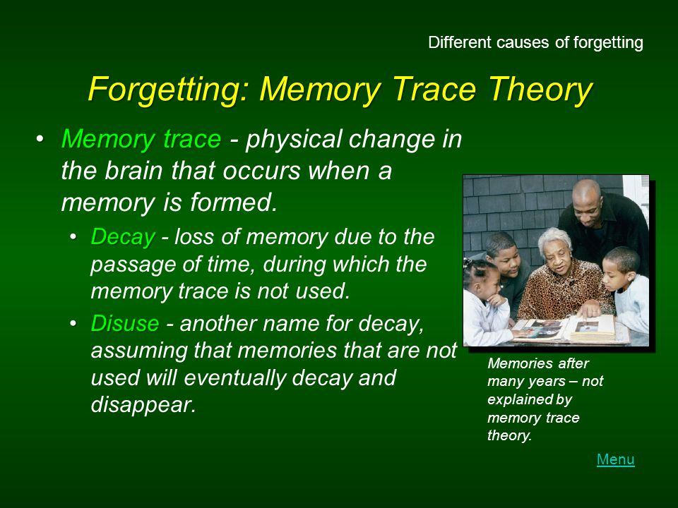 Forgetting: Memory Trace Theory