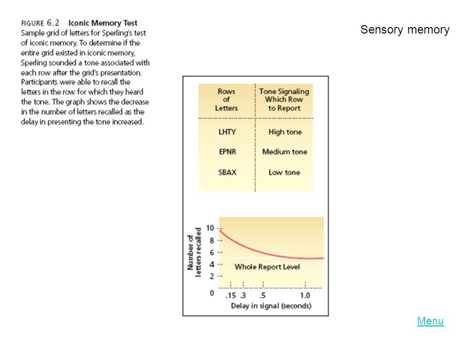 Sensory memory Menu