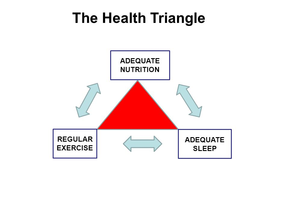The Health Triangle ADEQUATE NUTRITION REGULAR EXERCISE ADEQUATE SLEEP