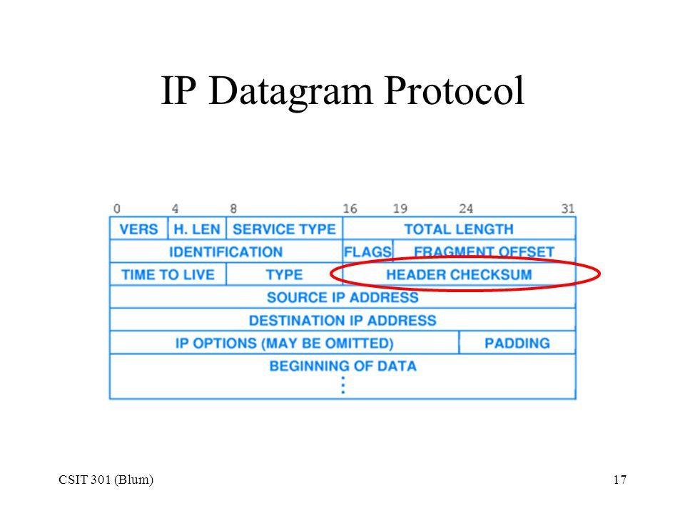 IP Datagram Protocol CSIT 301 (Blum)