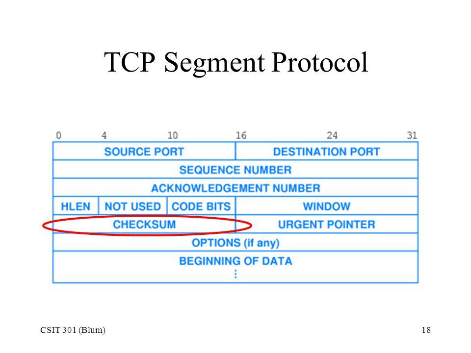 TCP Segment Protocol CSIT 301 (Blum)