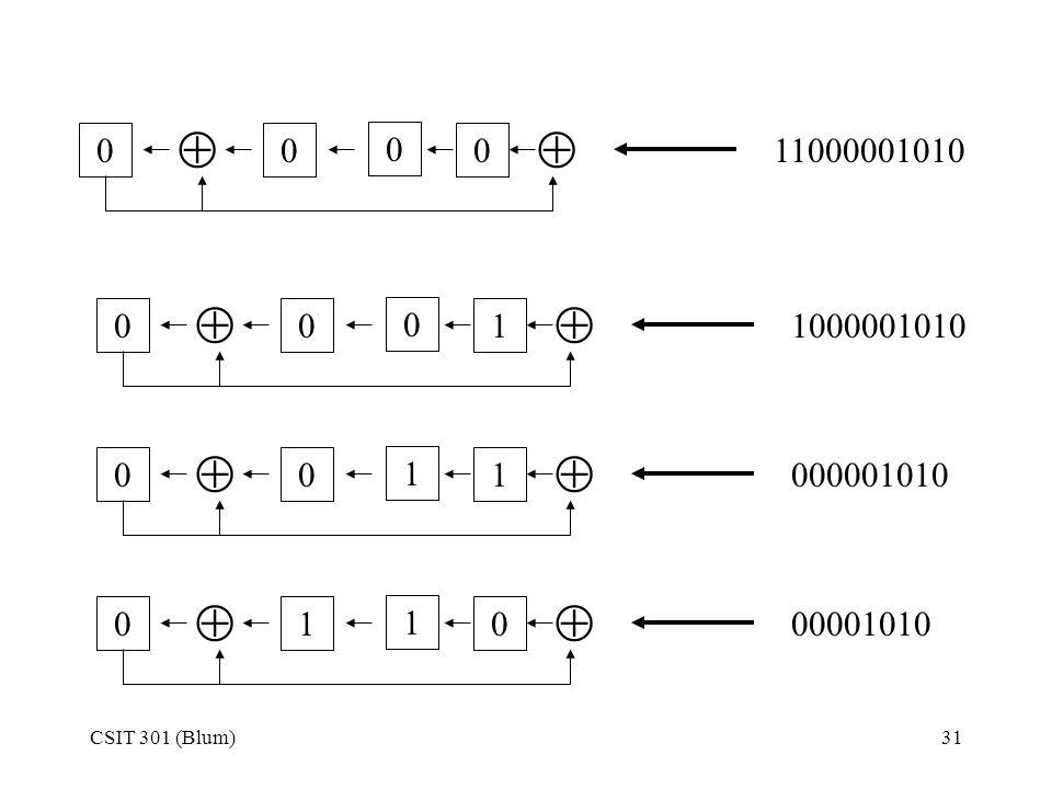   11000001010   1 1000001010   1 1 000001010   1 1 00001010 CSIT 301 (Blum)