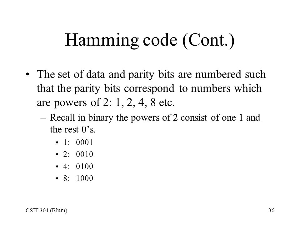 Hamming code (Cont.)