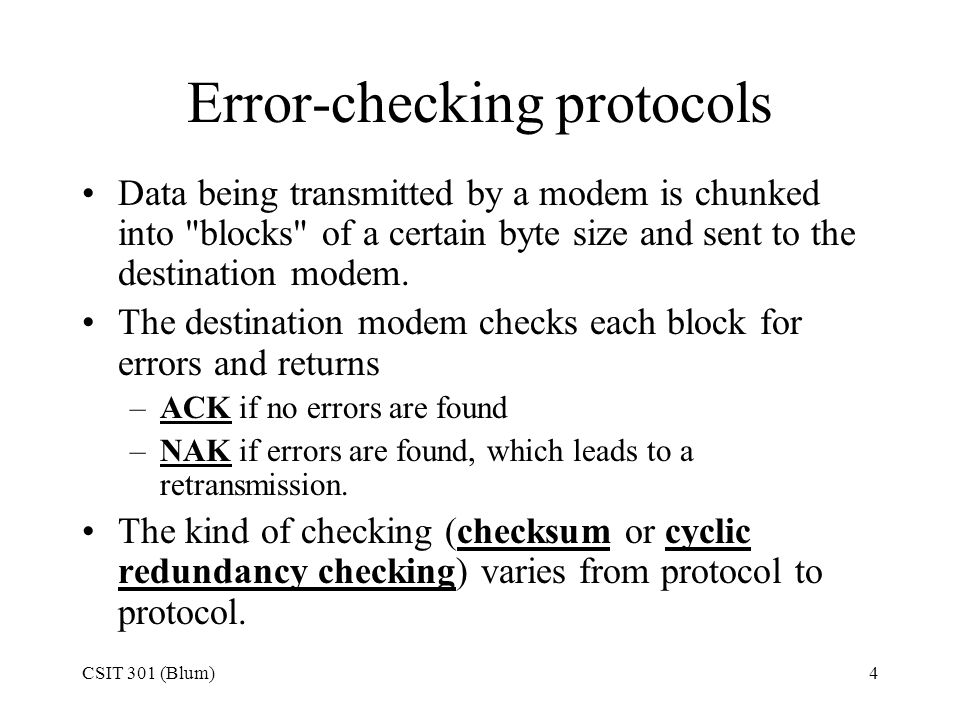 Error-checking protocols
