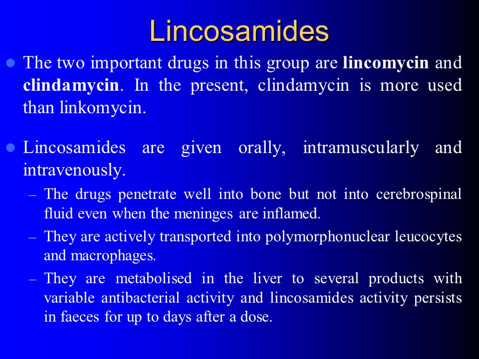 Lincosamides The two important drugs in this group are lincomycin and clindamycin. In the present, clindamycin is more used than linkomycin.