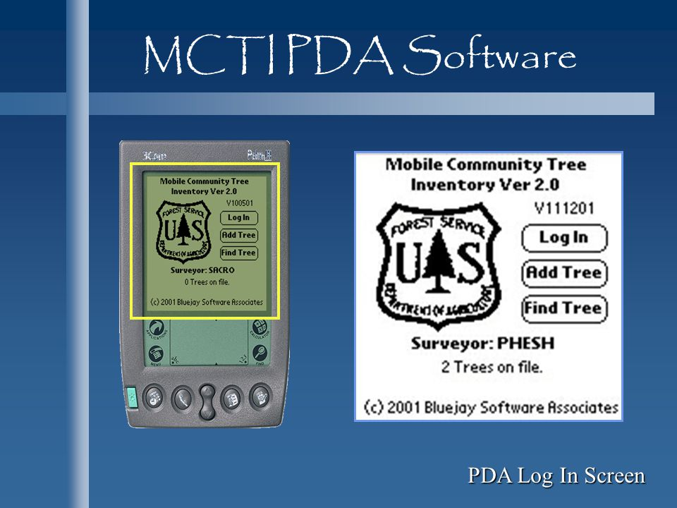 MCTI PDA Software PDA Log In Screen