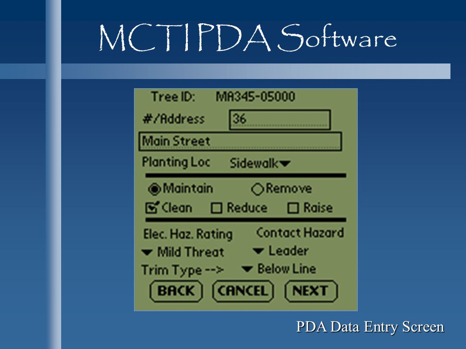 MCTI PDA Software PDA Data Entry Screen