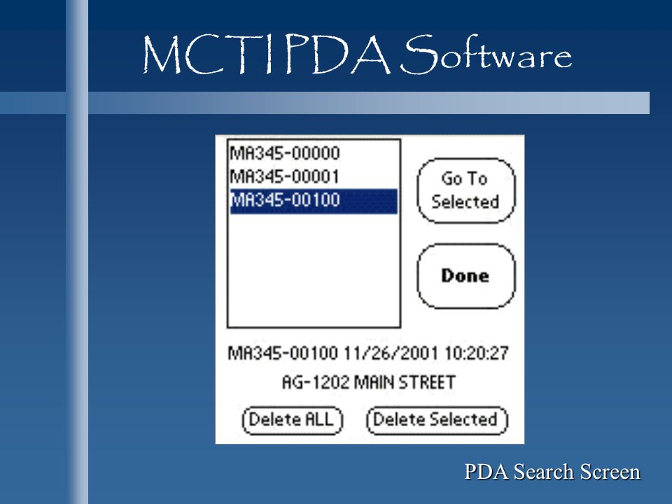 MCTI PDA Software PDA Search Screen