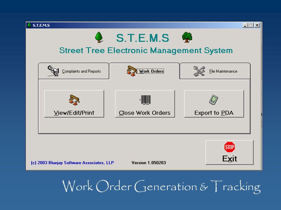 Work Order Generation & Tracking