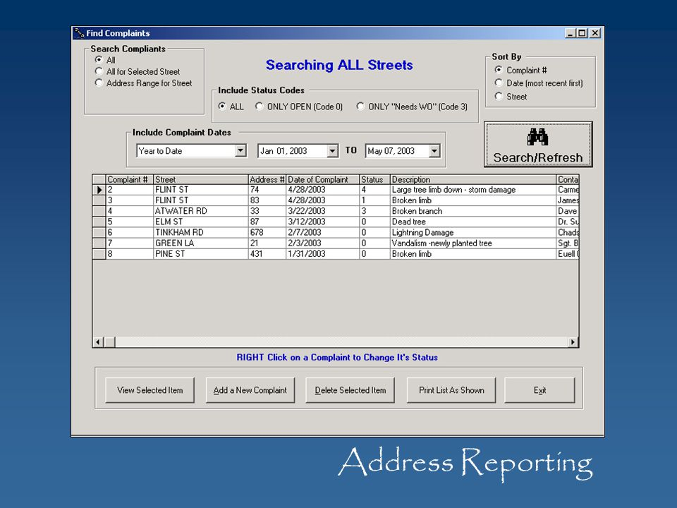 Address Reporting