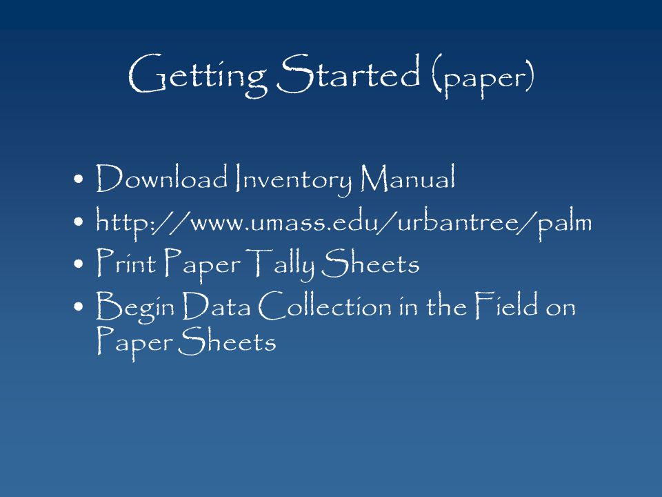 Getting Started (paper)
