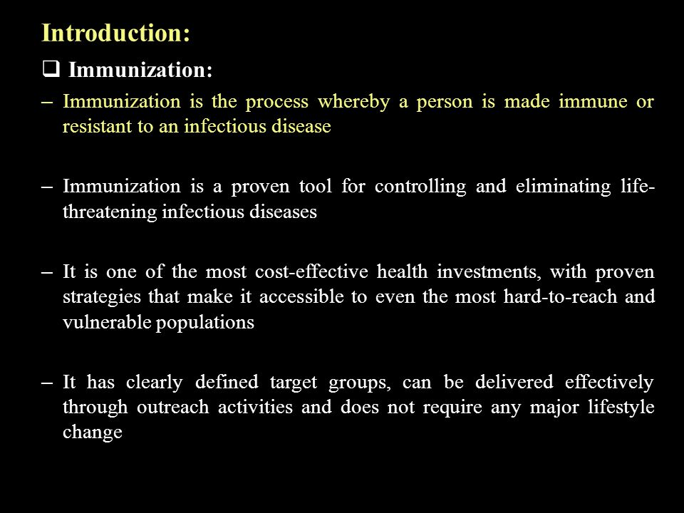 Introduction: Immunization: