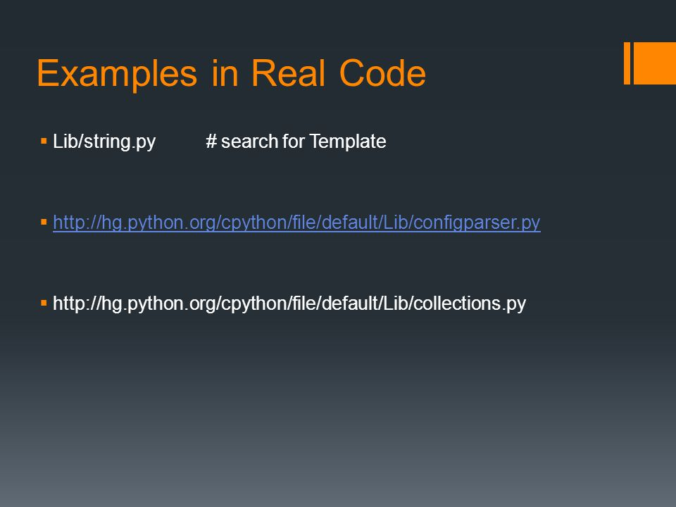 Examples in Real Code Lib/string.py # search for Template
