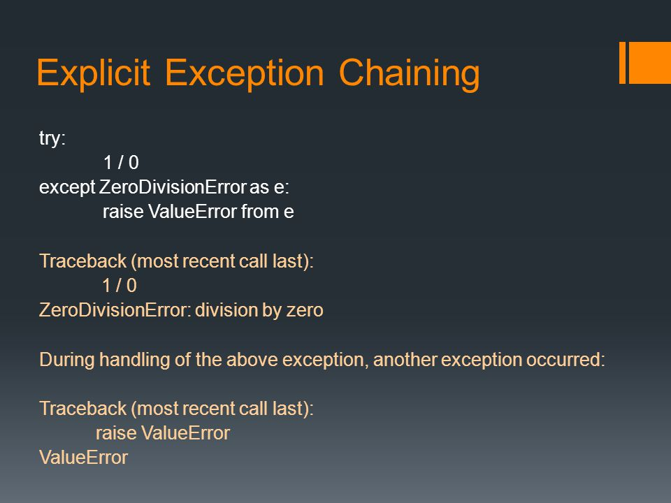 Explicit Exception Chaining