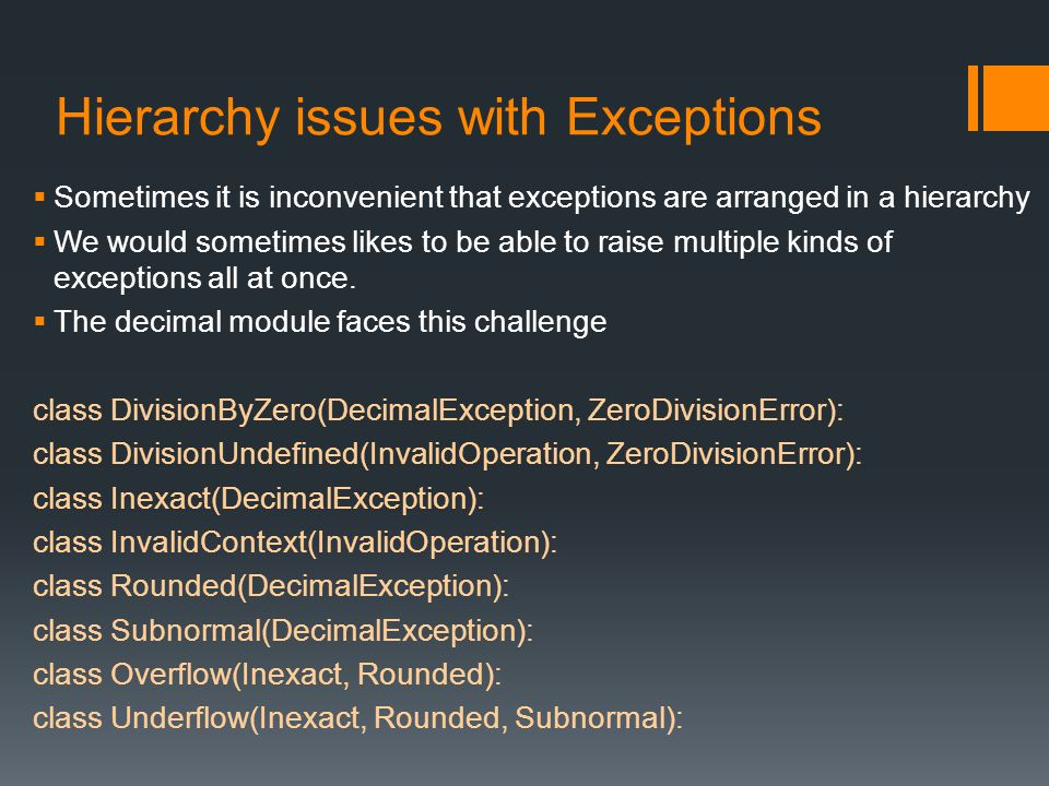 Hierarchy issues with Exceptions