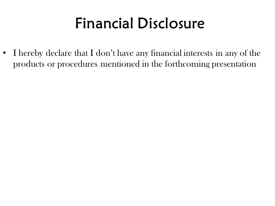 Financial Disclosure
