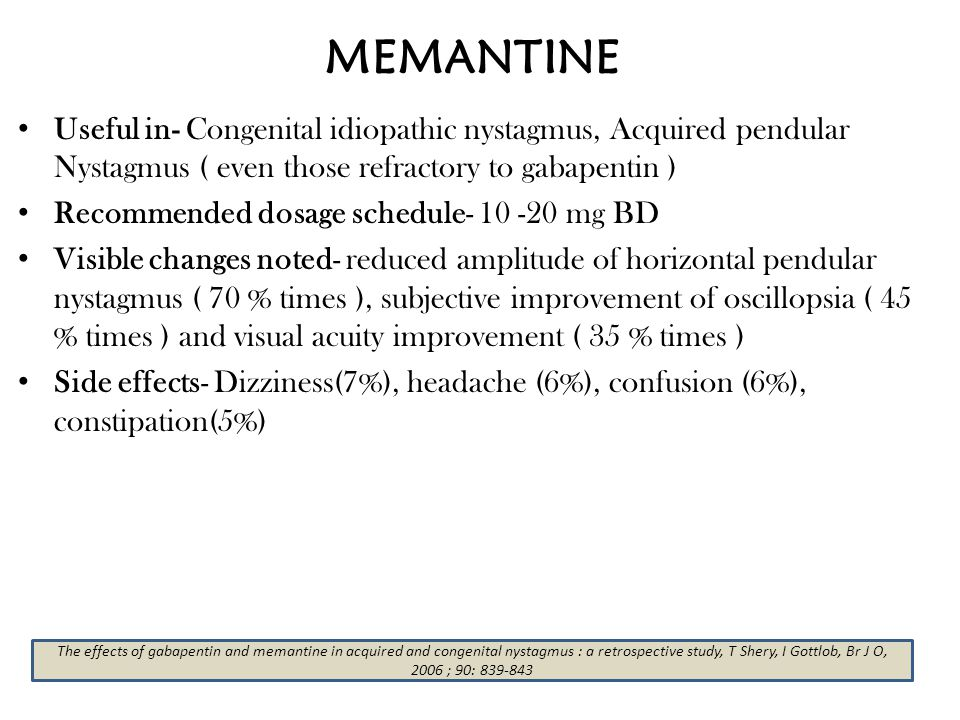 MEMANTINE Useful in- Congenital idiopathic nystagmus, Acquired pendular Nystagmus ( even those refractory to gabapentin )